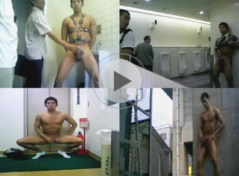 【無修正ゲイ動画】トイレで拘束具を装着させられた男がひたすら手コキをさせられてザーメンを噴き出しちゃうww