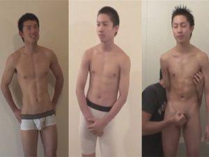 【無修正ゲイ動画】3人のアスリート系イケメンが登場…立ったまま勃ったチンポをシゴきシゴかれ精巣から金玉汁を噴射するww