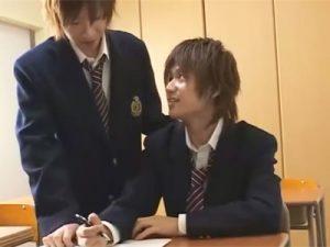 【ゲイ動画ビデオ】ブレザー姿のジャニーズ系のイケメン2人が教室で勉強をした後にアナルセックスをしちゃうww