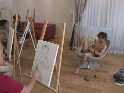 【ゲイ動画】ヌードモデルのイケメンがデッサンをされたりしてからアナルセックスをされまくっちゃうww